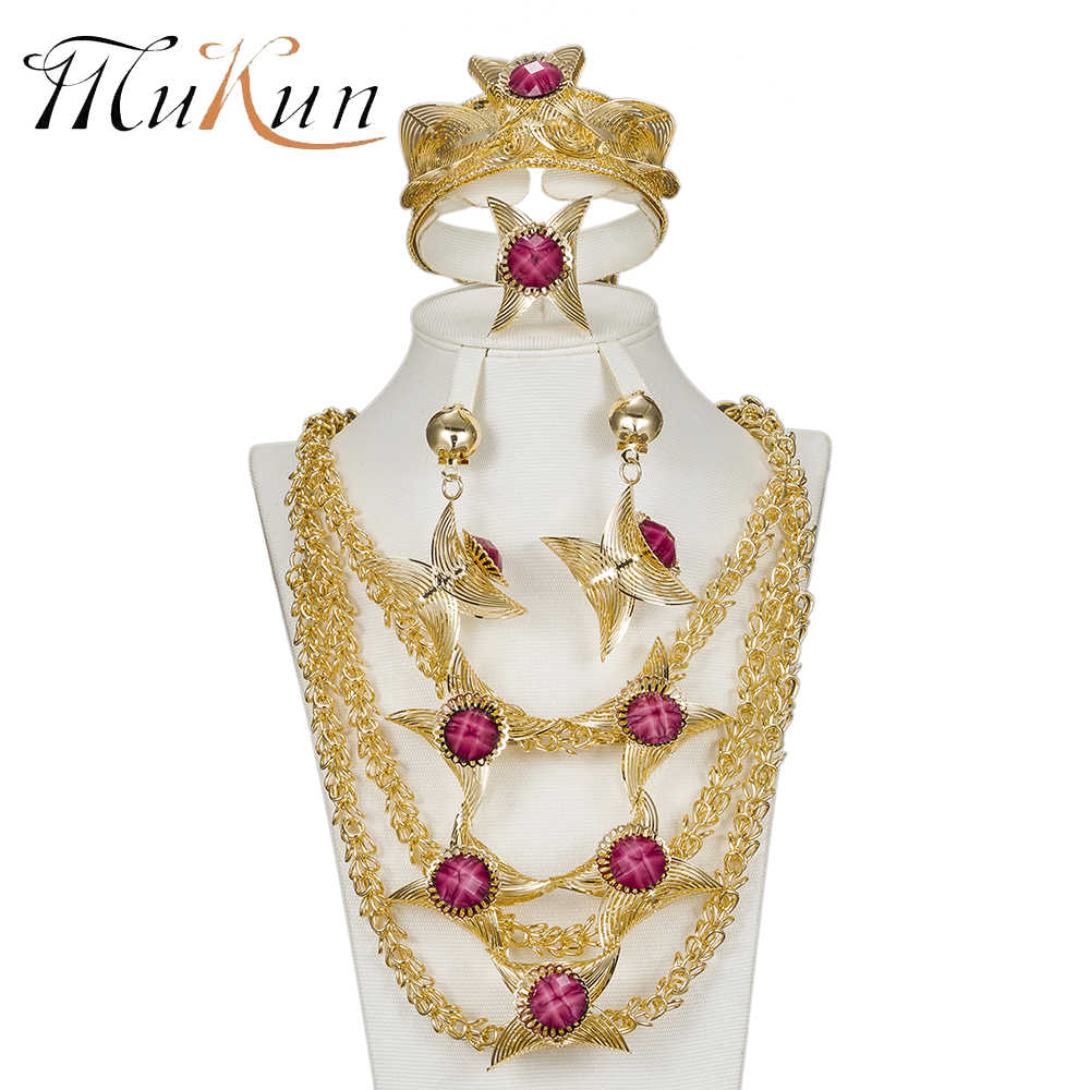 MUKUN Women Wedding Bridal Jewelry Sets Dubai African Beads Jewelry Sets Pendant Necklace Earrings Imitated Crystal Accessories
