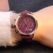 Relojes de pulsera de Cuarzo Relojes de Alta Calidad Relojes de Las Mujeres del Cuero Genuino Impermeable Dial Grande Con Calendario Guapo