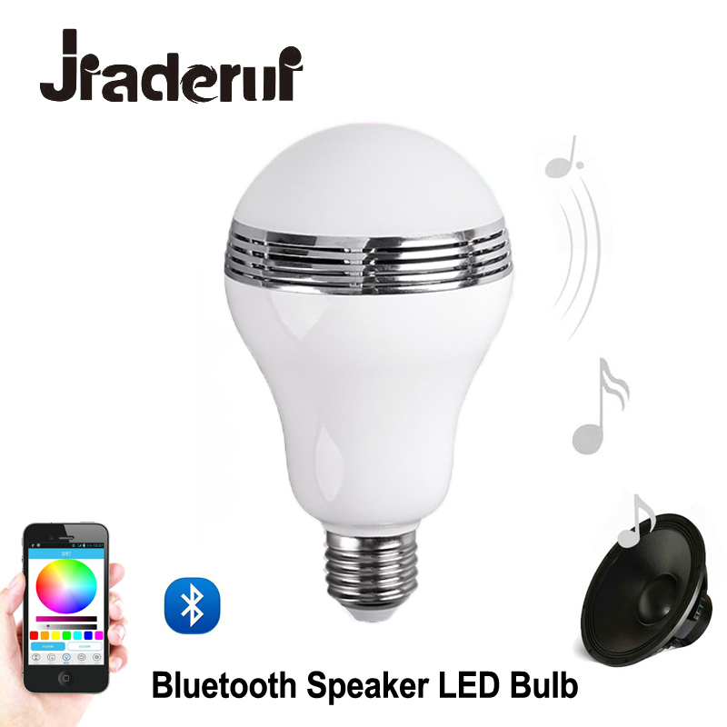 Jiaderui APP Remote Controlled LED RGB Smart LED Light Bulb with Bluetooth Speaker Wireless Music Player E27 Base smart bulb e27 led rgb light wireless music led lamp bluetooth color changing bulb app control android ios smartphone