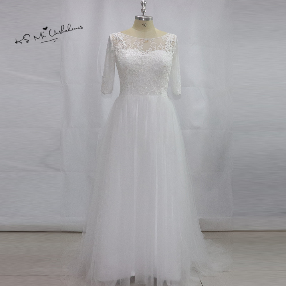 Discount Wedding Gowns: Simple Cheap Plus Size Wedding Dress Half Sleeve Lace