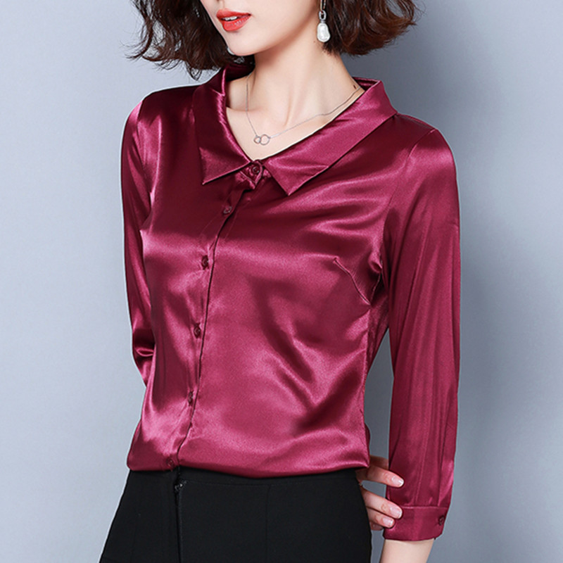 Women Tops and Blouses Casual Silk Blouse Harajuku Long Sleeve Blusa Feminina Tops Shirts Solid Plus Size XXXL Elegant Blouse