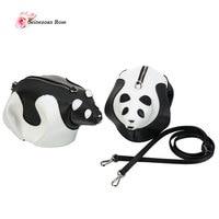 2017 Couro Genuíno Bolsas das Mulheres Panda Bonito Panda Bolsa de Ombro Pequenas Mulheres Saco Do Mensageiro de Mini Sacos Do Partido Senhoras