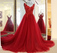 Evening dresses long 2018 high quality party gown lace up back A line sexy V neck wine red tulle rhinestone evening gown