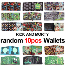 ФОТО meancat wholesale 10pcs/lot anime cartoon rick and morty folded wallet carteira lovely card money bags send with random patterns