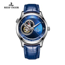 2017 Reef Tiger/RT Designer Casual Watches Automatic Watches Genuine Leather Strap Blue Dial Stainless Steel Watches RGA1693