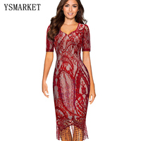 YSMARKET Women Summer Vintage Elagant Ladylike Tassel Hemline Graphic Flower Lace Pattern Short Sleeve Bodycon Dress EA1699