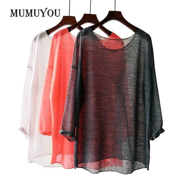734de36c1 Mulheres Blusa Transparente Camisa de Poliéster Solta Malha Partes  Superiores Das Senhoras Blusas de Manga Longa