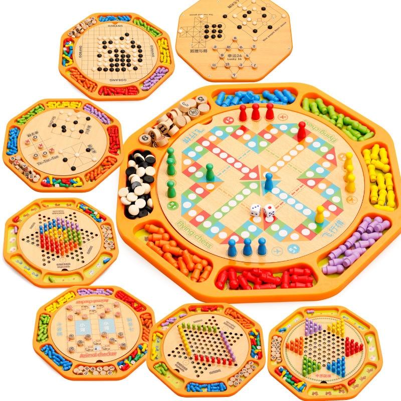 MWZ 12 en 1 multifonctionnel en bois jeu d'échecs jouet chinois dames Animal Checker TIC-TAC-TOE échecs Lucky 26 éducation jouets