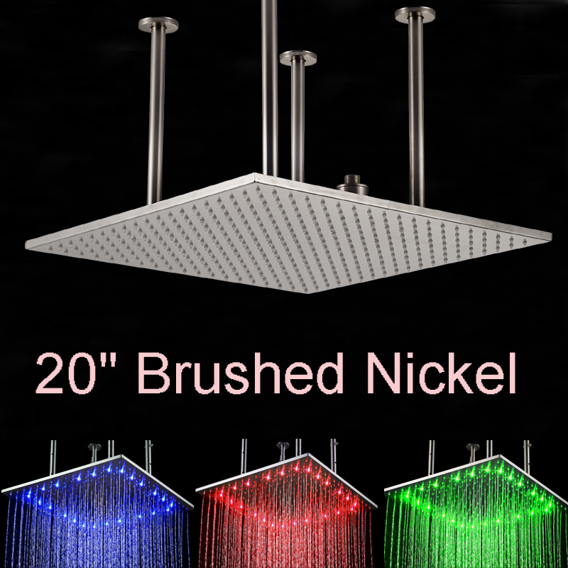 Wholesale And Retail LED Nickel Brushed 20 Shower Head Ceiling Mount Square Over-head Shower Rainfall Top Shower hot sale wholesale and retail promotion new modern brushed nickel 12 rain shower head ultrathin shower head replacement
