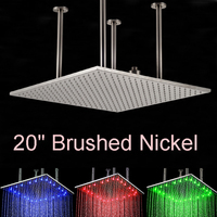 Wholesale And Retail LED Nickel Brushed 20 Shower Head Ceiling Mount Square Over head Shower Rainfall Top Shower
