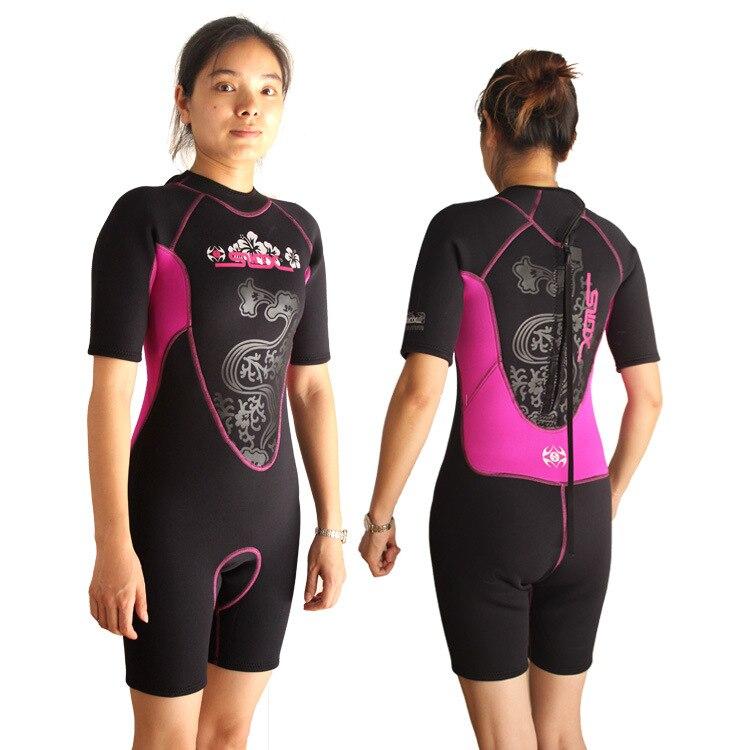 ФОТО Wetsuits Women's Premium Neoprene 3mm Shorty One-Piece Jump Suit Diving Suit SLINX 1104 Pink/Black