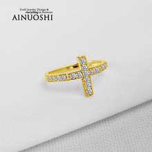 AINUOSHI 10K Solid Yellow Gold Engagement Ring Trendy Cross Design Fine Jewelry Simulated Diamond Women Party Ring Christian