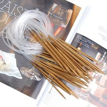 18 Pairs 32 (80cm) Circular Carbonized Bamboo Knitting Kits Needles Set (2.0mm - 10.0mm)