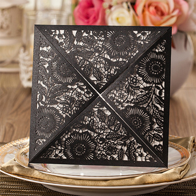 US $60 54 |50Set Design Rose Square Type Flower Laser Cut Wedding  Invitations Blank Paper Insert Laser Cut Printing Invitation Card kit-in  Cards &