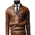 New Arrival PU Leather Jacket Men Long Standing Collar Solid Color Jackets Overcoat Men Leather Jackets Male Clothing