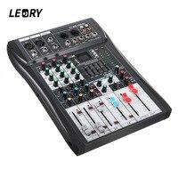 LEORY Profissional bluetooth 4 канала микшерный пульт DJ с USB светодиодный Экран металлический DJ Mezclador консоль DJ Беспроводной для аудио