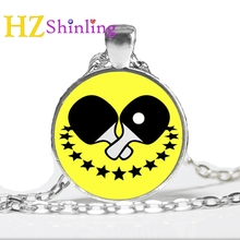 2017 New Table Tennis Necklace I Love Pingpong Jewelry Glass Dome Photo Pendant Handmade Accessory Gifts Men