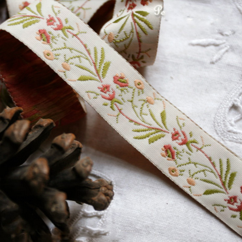Orchid grass embroidered ribbon tape