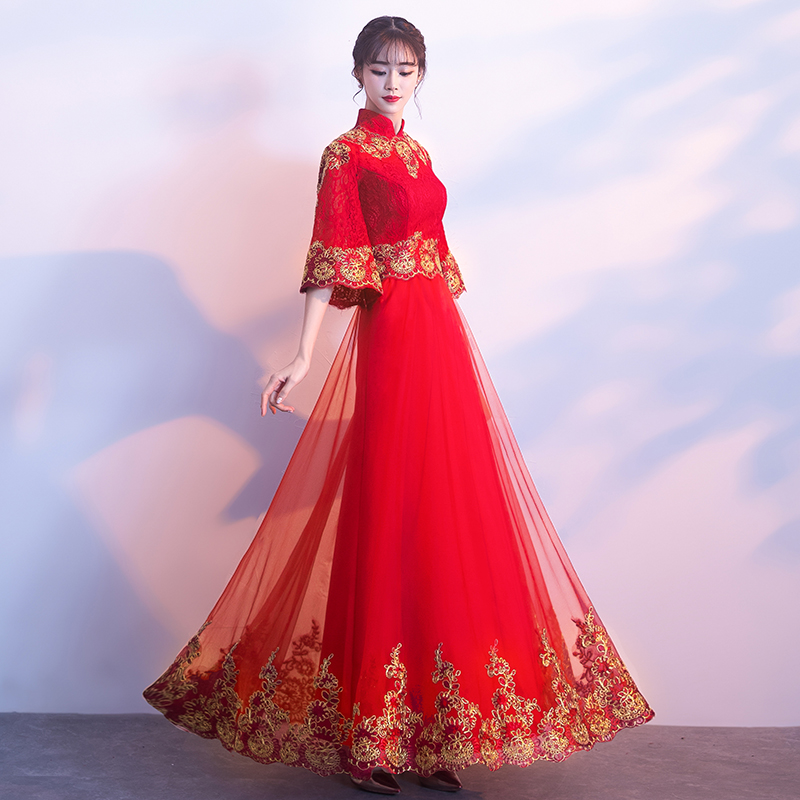 Asian Bride Spring Wedding Dress Chinese Traditional Embroidery Flower Cheongsam Lace Elegant Mesh Dress Gown Size XS-XXXL