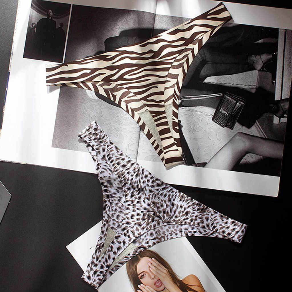Vrouwelijke ondergoed sexy luipaard patroon ice zijde lage taille naadloze dames T-string Ondergoed Slipje Slips Dames majtki damskie
