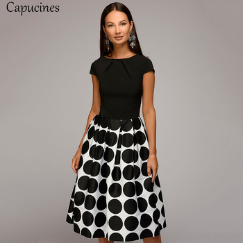 Capucines Women Summer Point Printing Patchwork Dress Short Sleeves Round Neck Pleated Casual Dress Vintage A-line Party Dresses