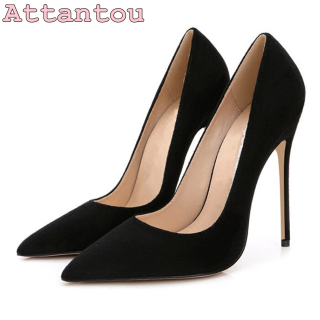 42fbfd377f5 black suede leather woman shoes pointed toe 10cm 12cm high heel ladies  shoes stiletto heel pumps dress shoes in stock