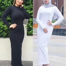 Dubai Abaya Muslim Women Long Sleeve Slim Dress Sheath Islam Kaftan Jilbab Robes Gown Bodycon Soft Casual Dresses Ankle-Length