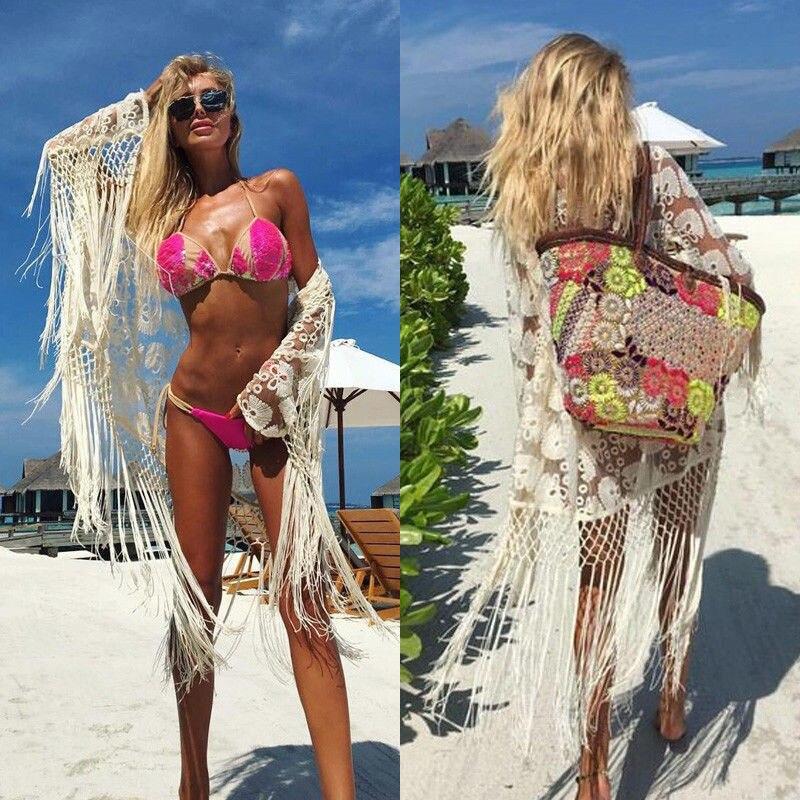 Women Fashion Tassel hook Cover Up Casual Swimwear Bathing Suit Beach Dress Swimsuit
