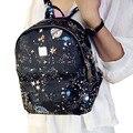 Personalidade mulheres mochilas 2016 nova moda casual PU mochila senhoras listrado impressão estrela rebite viajar sacos de escola meninas, LB2202