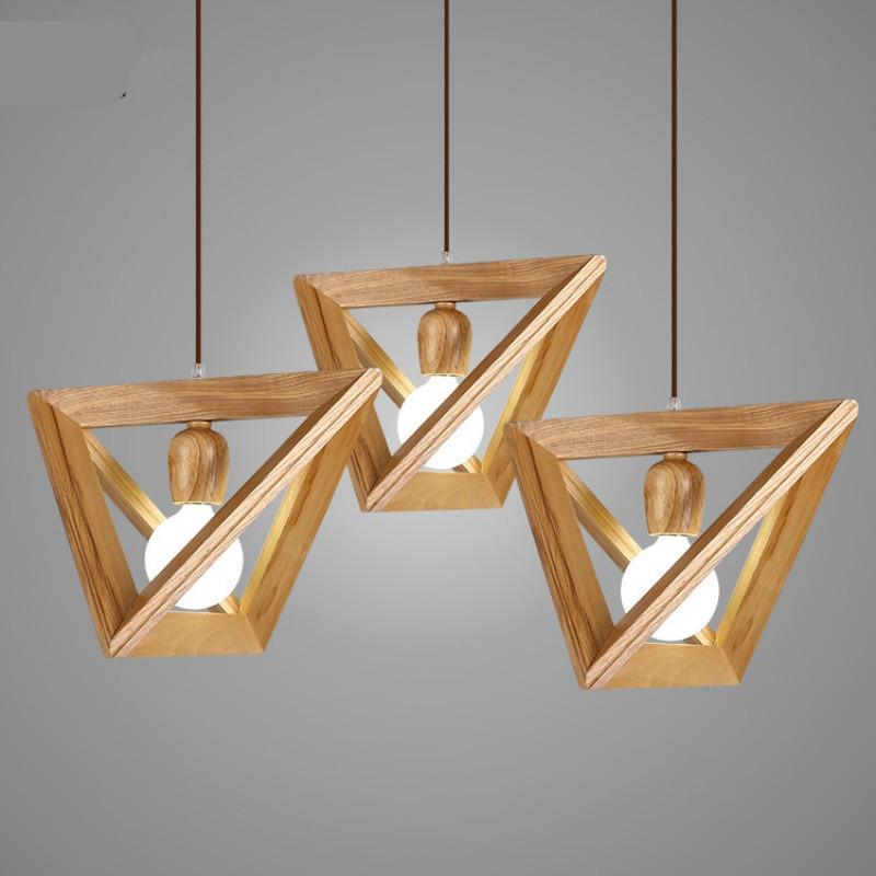 Simple Geometric Wood Pendant Light For Dining Room Bar