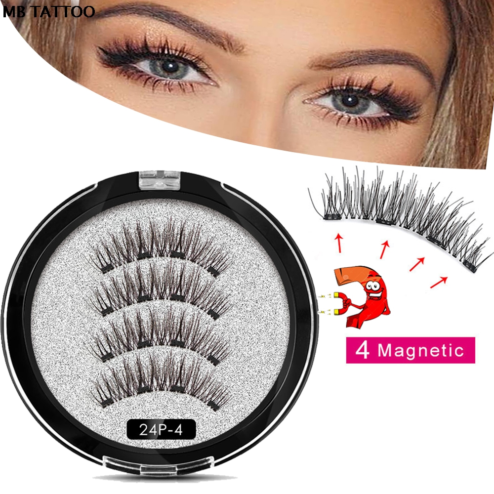 2020 New 2 Pair 4 Magnetic False Eyelashes Natural With 3D/6D Magnets Handmade Magnetic Lashes Natural Mink Eyelashe Magnet Lash
