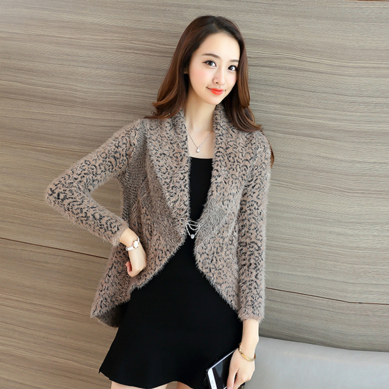 2017 Spring Autumn Female Cardigan Mujer Slim Turn down Collar ...