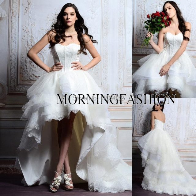 Fantastic Morden Short Front Long Back White Lace Ball Gown Open Wedding Dress