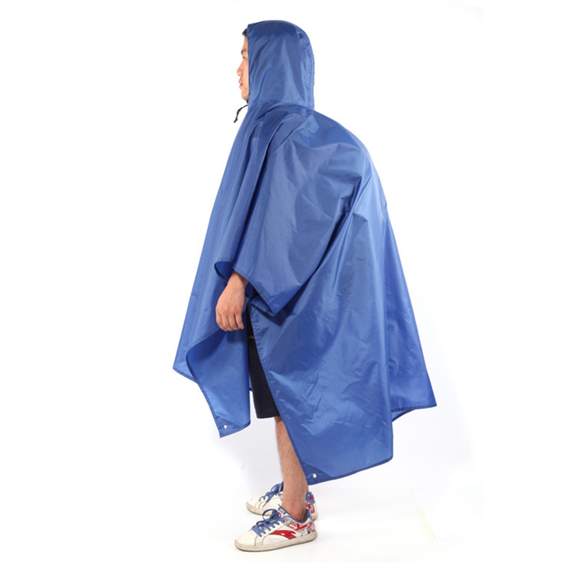 3 In 1 Camping Rain Poncho Mountaineering Trekking Rain Cover Pad Cycling Ripstop Raincoat Floor Mat Shelter Waterproof
