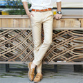 2016 Estilo Coreano de Los Hombres de Moda Casual Pantalones Rectos Mediados de Cintura de Algodón Elástico de Las Bragas de Color Sólido Hombres Pantalones de Color Caqui Chothes