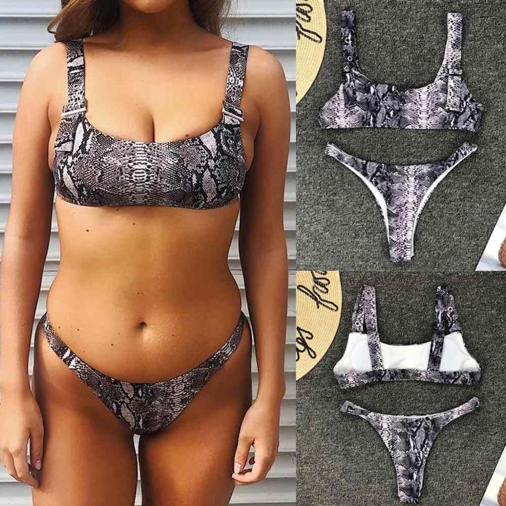 Femmes Serpent Imprimer Push-Up Soutien-Gorge Rembourré Plage Bikini Ensemble Maillot de Bain Maillots De Bain Monokini Maillot de bain Tankini mujer tanga Monoki 2019