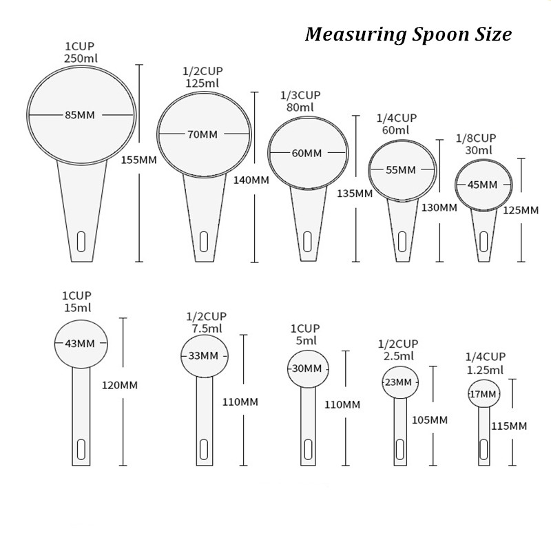 10pcs/set Kitchen Measuring Spoons Teaspoon Coffee Sugar Scoop Cake Baking Flour Measuring Cups Kitchen Cooking Tools Home Usage 8
