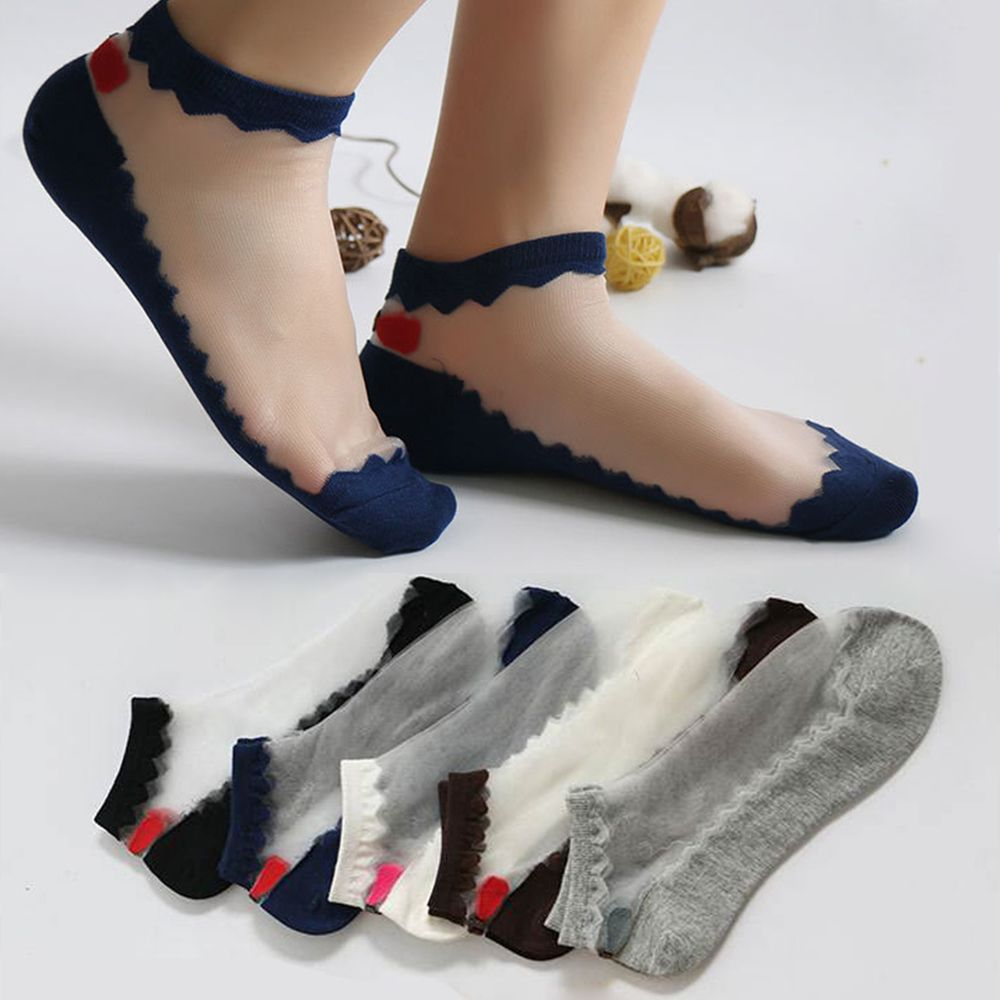 2019 Summer Leisure Jacquard Female Crystal Silk Short Socks Women Thin Bow Glass Transparent Boat Socks Ankle Socks