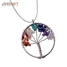 JOYA Natural Crushed Stone Rainbow 7 Chakra Tree of Life Necklace Pendant Jewelry Color Wisdom Pendants for Woman