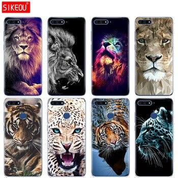 De silicona cubierta del teléfono para Huawei Honor 7A PRO 7C Y5 Y6 Y7 Y9 2017 2018 Tigre, León, leopardo