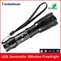 2017 NEW 1Pcs High Power LED Flashlight CREE XM-L T6 2000LM 5Modes Led torch Lantern Zoomable Flashlight Free Shipping