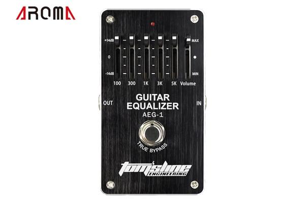 AROMA AEG-1 guitare 5 bandes EQ 5 bandes pédale dégaliseur pour guitare. +-14dB contrôle du Volume faible puissance effet analogique haut de gamme