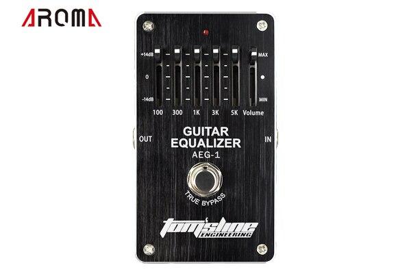 AROMA AEG-1 guitare 5 bandes EQ 5 bandes pédale d'égaliseur pour guitare. +-14dB contrôle du Volume faible puissance effet analogique haut de gamme