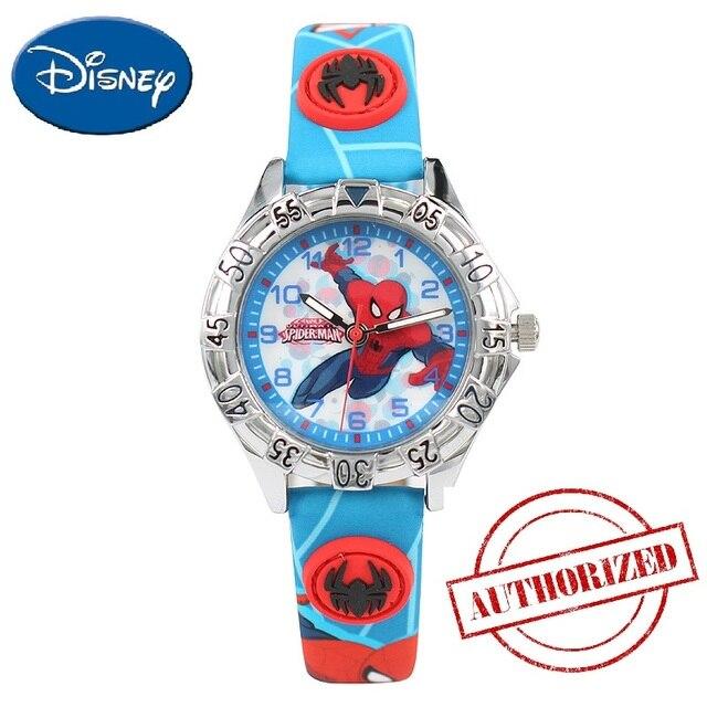 Marvel Avengers Disney Boy Spider-Man Red Black Blue Kid PU Band Round Japan Qua