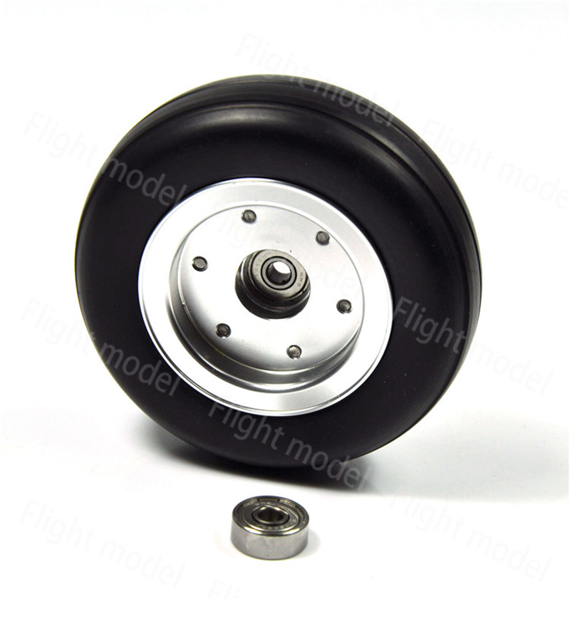 1pcs 3.5 Rubber Wheel Aluminum Hub with Wheel Adapter Rubber Tire For Model Aircraft RC Airplane image