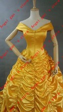 Free shipping hot Sale Custom Made Beauty and the Beast Heroine Princess Belle Palace Style Cosplay Costume Bright Yellow Dress