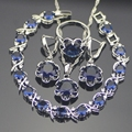 925 Sterling Silver Blue Created Sapphire Jewelry Sets For Women Earrings/Pendant/Necklace/Rings/Bracelets Free Gift Box
