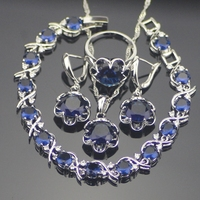 925 Sterling Silver Blue Sapphire Jewelry Sets For Women Earrings Pendant Necklace Rings Bracelets Free Gift
