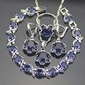 Prata Esterlina 925 Conjuntos de Jóias Para As Mulheres Azul Safira Criado Brincos/Pingente/Colar/Anéis/Pulseiras Grátis Caixa de presente
