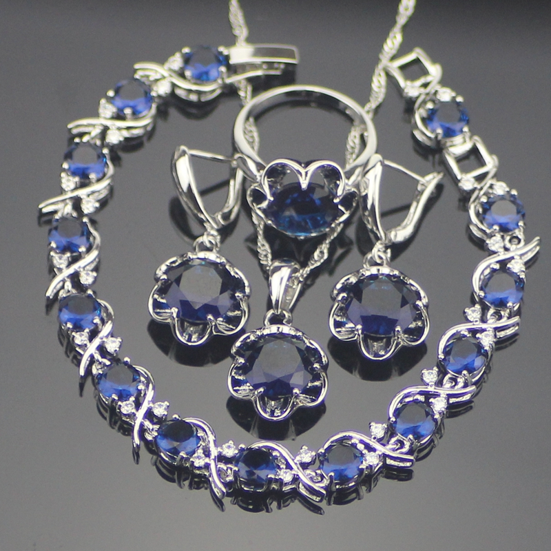 Unique Round 925 Sterling Silver Blue Cubic Zirconia Jewelry Sets For Women Earrings Pendant Necklace Rings